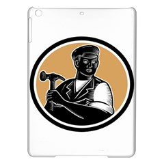 Carpenter Holding Hammer Woodcut Apple Ipad Air Hardshell Case by retrovectors