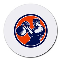 Bodybuilder Lifting Kettlebell Woodcut 8  Mouse Pad (round) by retrovectors