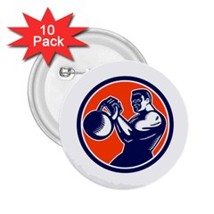 Bodybuilder Lifting Kettlebell Woodcut 2 25  Button (10 Pack)