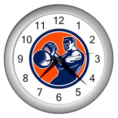Bodybuilder Lifting Kettlebell Woodcut Wall Clock (silver) by retrovectors