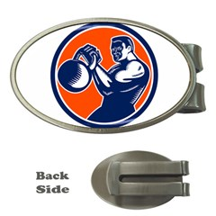 Bodybuilder Lifting Kettlebell Woodcut Money Clip (oval) by retrovectors