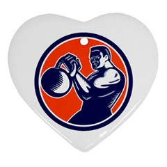 Bodybuilder Lifting Kettlebell Woodcut Heart Ornament (two Sides) by retrovectors