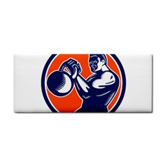 Bodybuilder Lifting Kettlebell Woodcut Hand Towel by retrovectors