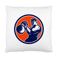 Bodybuilder Lifting Kettlebell Woodcut Cushion Case (single Sided)  by retrovectors