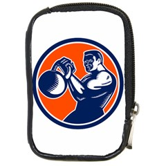 Bodybuilder Lifting Kettlebell Woodcut Compact Camera Leather Case by retrovectors