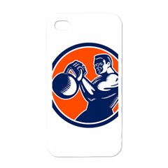 Bodybuilder Lifting Kettlebell Woodcut Apple Iphone 4 Case (white) by retrovectors
