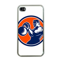 Bodybuilder Lifting Kettlebell Woodcut Apple Iphone 4 Case (clear) by retrovectors