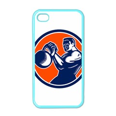 Bodybuilder Lifting Kettlebell Woodcut Apple Iphone 4 Case (color) by retrovectors