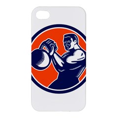 Bodybuilder Lifting Kettlebell Woodcut Apple Iphone 4/4s Premium Hardshell Case by retrovectors