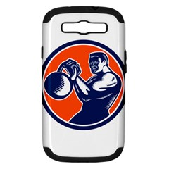 Bodybuilder Lifting Kettlebell Woodcut Samsung Galaxy S Iii Hardshell Case (pc+silicone) by retrovectors