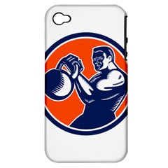Bodybuilder Lifting Kettlebell Woodcut Apple Iphone 4/4s Hardshell Case (pc+silicone) by retrovectors