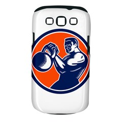Bodybuilder Lifting Kettlebell Woodcut Samsung Galaxy S Iii Classic Hardshell Case (pc+silicone) by retrovectors