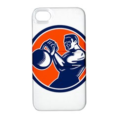 Bodybuilder Lifting Kettlebell Woodcut Apple Iphone 4/4s Hardshell Case With Stand by retrovectors