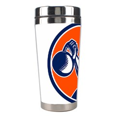 Bodybuilder Lifting Kettlebell Woodcut Stainless Steel Travel Tumbler by retrovectors