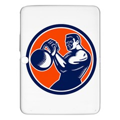 Bodybuilder Lifting Kettlebell Woodcut Samsung Galaxy Tab 3 (10 1 ) P5200 Hardshell Case  by retrovectors