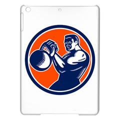 Bodybuilder Lifting Kettlebell Woodcut Apple Ipad Air Hardshell Case by retrovectors
