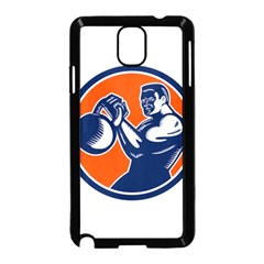 Bodybuilder Lifting Kettlebell Woodcut Samsung Galaxy Note 3 Neo Hardshell Case (black) by retrovectors