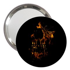 Skull Burning Digital Collage Illustration 3  Handbag Mirror