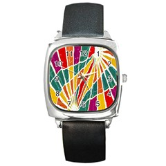 Multicolored Vibrations Square Leather Watch by dflcprints