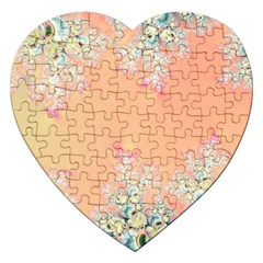Peach Spring Frost On Flowers Fractal Jigsaw Puzzle (heart) by Artist4God