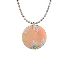 Peach Spring Frost On Flowers Fractal Button Necklace by Artist4God