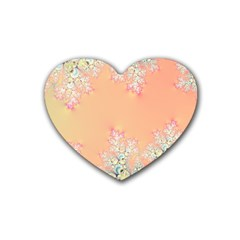Peach Spring Frost On Flowers Fractal Drink Coasters 4 Pack (heart)