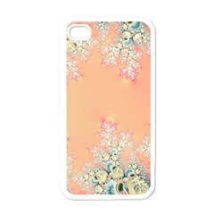 Peach Spring Frost On Flowers Fractal Apple Iphone 4 Case (white) by Artist4God