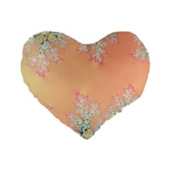 Peach Spring Frost On Flowers Fractal 16  Premium Heart Shape Cushion  by Artist4God