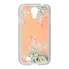 Peach Spring Frost On Flowers Fractal Samsung Galaxy S4 I9500/ I9505 Case (white) by Artist4God