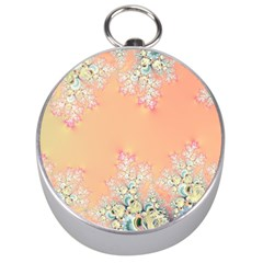 Peach Spring Frost On Flowers Fractal Silver Compass by Artist4God
