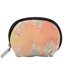 Peach Spring Frost On Flowers Fractal Accessory Pouch (small) by Artist4God