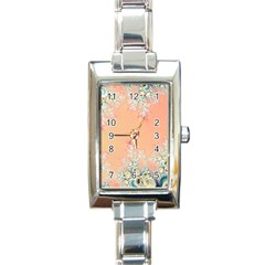 Peach Spring Frost On Flowers Fractal Rectangular Italian Charm Watch by Artist4God