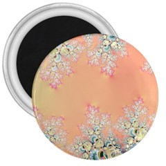 Peach Spring Frost On Flowers Fractal 3  Button Magnet by Artist4God
