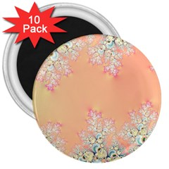 Peach Spring Frost On Flowers Fractal 3  Button Magnet (10 Pack) by Artist4God