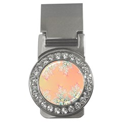 Peach Spring Frost On Flowers Fractal Money Clip (cz) by Artist4God