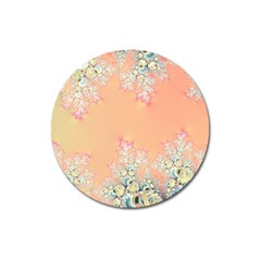 Peach Spring Frost On Flowers Fractal Magnet 3  (round) by Artist4God