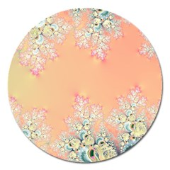 Peach Spring Frost On Flowers Fractal Magnet 5  (round) by Artist4God