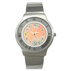 Peach Spring Frost On Flowers Fractal Stainless Steel Watch (slim) by Artist4God
