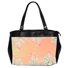 Peach Spring Frost On Flowers Fractal Oversize Office Handbag (two Sides)