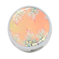 Peach Spring Frost On Flowers Fractal 4-port Usb Hub (one Side)