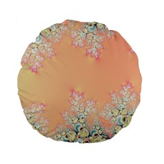 Peach Spring Frost On Flowers Fractal 15  Premium Round Cushion  by Artist4God