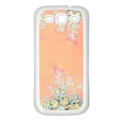 Peach Spring Frost On Flowers Fractal Samsung Galaxy S3 Back Case (white) by Artist4God
