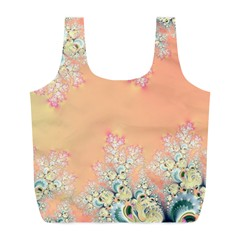 Peach Spring Frost On Flowers Fractal Reusable Bag (l)