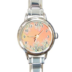 Peach Spring Frost On Flowers Fractal Round Italian Charm Watch by Artist4God