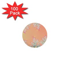 Peach Spring Frost On Flowers Fractal 1  Mini Button (100 Pack) by Artist4God