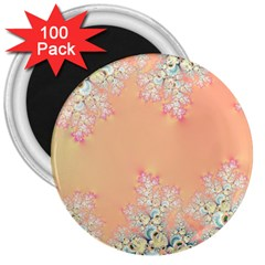 Peach Spring Frost On Flowers Fractal 3  Button Magnet (100 Pack)