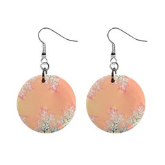 Peach Spring Frost On Flowers Fractal Mini Button Earrings by Artist4God