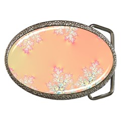 Peach Spring Frost On Flowers Fractal Belt Buckle (oval) by Artist4God