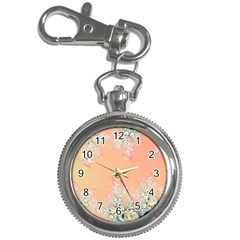 Peach Spring Frost On Flowers Fractal Key Chain Watch by Artist4God