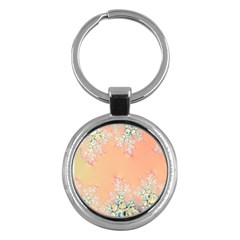 Peach Spring Frost On Flowers Fractal Key Chain (round) by Artist4God